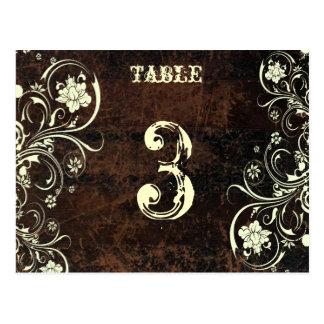 Tarjeta de cuero rascada del número de la tabla (c postal