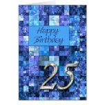 Tarjeta de cumpleaños 25 con los cuadrados abstrac