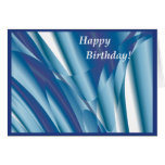 Tarjeta de cumpleaños abstracta azul que remolina