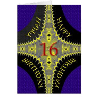 Tarjeta de cumpleaños abstracta para los 16 años