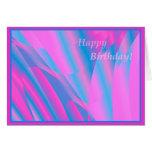 Tarjeta de cumpleaños abstracta rosada y azul boni