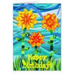 Tarjeta de cumpleaños acolchada de los girasoles
