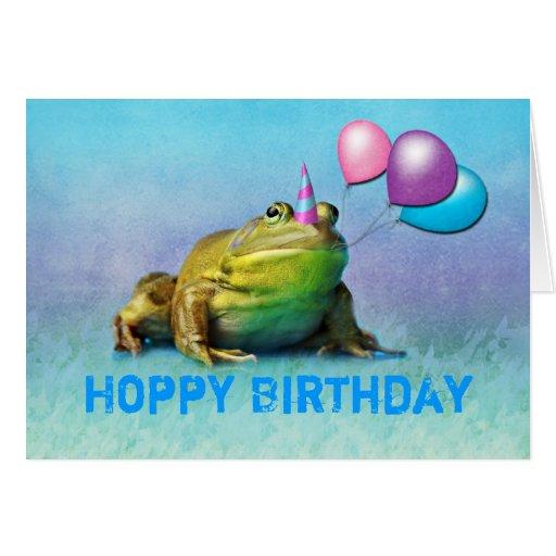 Tarjeta de cumpleaños adaptable de la rana del