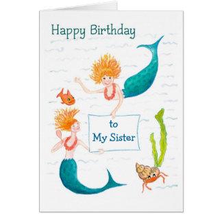 Tarjeta de cumpleaños adaptable - sirenas