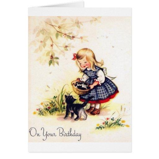 Tarjeta de cumpleaños adorable de la niña y de los