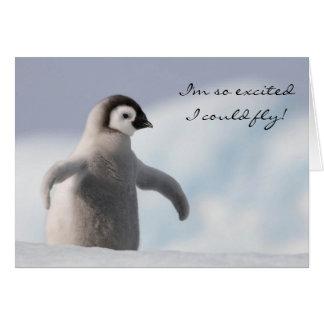 Tarjeta de cumpleaños adorable del pingüino