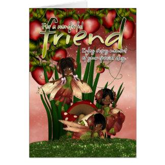 Tarjeta de cumpleaños afroamericana - amigo - Moon