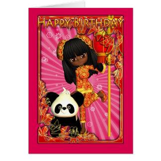 Tarjeta de cumpleaños afroamericana con Moonies po
