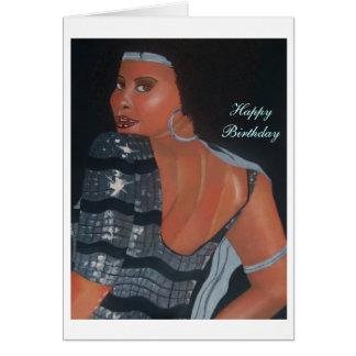 Tarjeta de cumpleaños afroamericana que parece