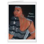 Tarjeta de cumpleaños afroamericana que parece bue