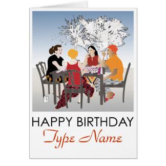 Tarjeta de cumpleaños al aire libre del Mah Jongg