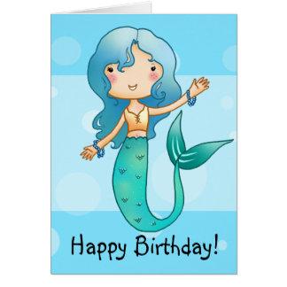 Tarjeta de cumpleaños alegre de la sirena del dibu