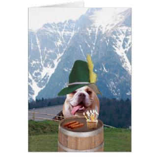 Tarjeta de cumpleaños alemana del perro divertido