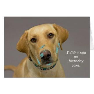 Tarjeta de cumpleaños amarilla del laboratorio por