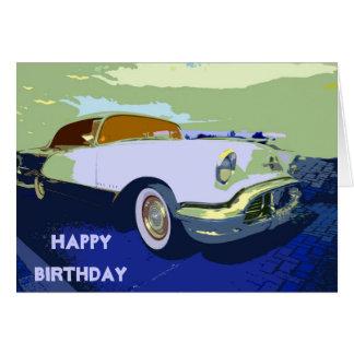 Tarjeta de cumpleaños americana clásica del coche
