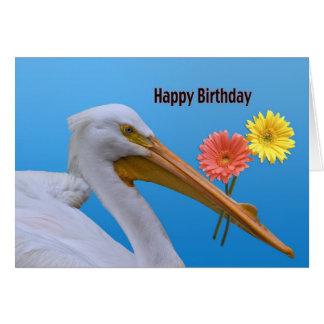 Tarjeta de cumpleaños americana del pelícano blanc