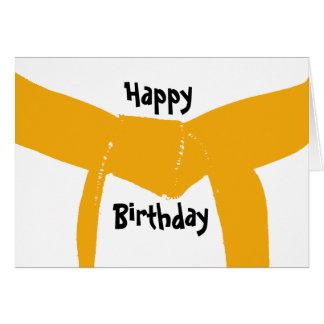 Tarjeta de cumpleaños anaranjada de la correa de l