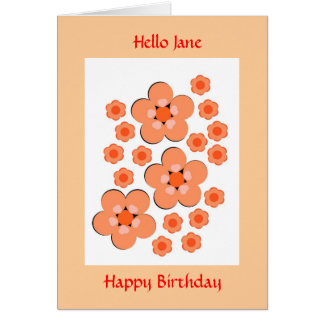 Tarjeta de cumpleaños anaranjada floral