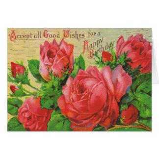 Tarjeta de cumpleaños antigua con los rosas rojos