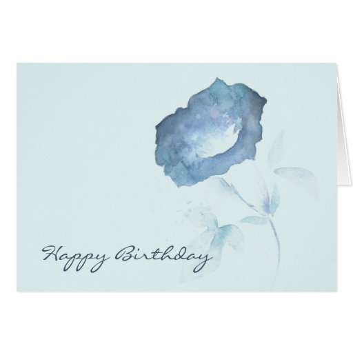 Tarjeta de cumpleaños azul de la flor de la petuni