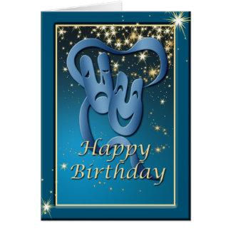 Tarjeta de cumpleaños azul de la máscara del