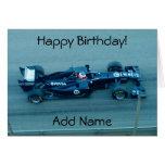 Tarjeta de cumpleaños azul del coche de competició