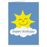 Tarjeta de cumpleaños azul del sol feliz del dibuj