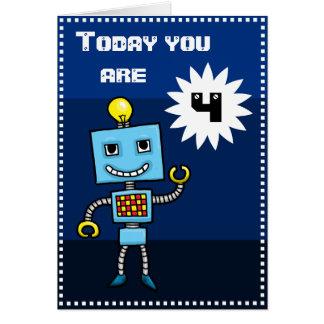Tarjeta de cumpleaños azul retra del robot del
