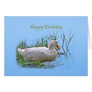 Tarjeta de cumpleaños blanca del pato de Pekin
