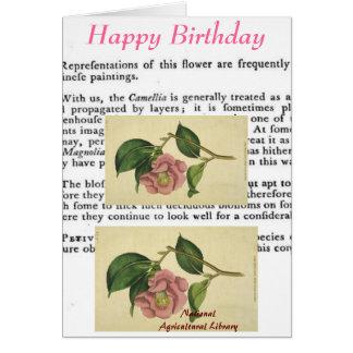 Tarjeta de cumpleaños botánica de la impresión