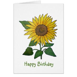 Tarjeta de cumpleaños brillante del girasol de las