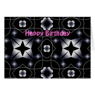 Tarjeta de cumpleaños brillante negra del caleidos