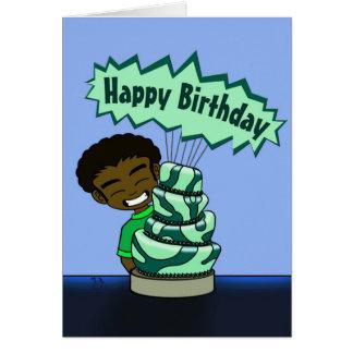 Tarjeta de cumpleaños caprichosa de la torta