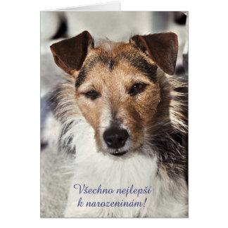 Tarjeta de cumpleaños checa del perro