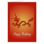 Tarjeta de cumpleaños china del dragón del rojo y