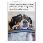 Tarjeta de cumpleaños chistosa - perro que reflexi
