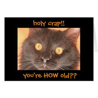 Tarjeta de cumpleaños chocada divertida del gato,