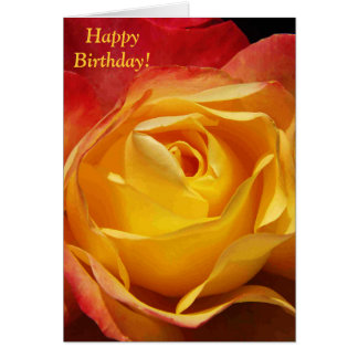 Tarjeta de cumpleaños color de rosa anaranjada