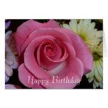 Tarjeta de cumpleaños color de rosa rosada