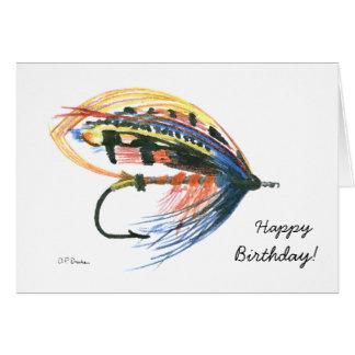 Tarjeta de cumpleaños colorida de la pesca con mos