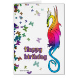Tarjeta de cumpleaños colorida del dragón del arco