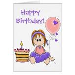 Tarjeta de cumpleaños colorida femenina retra