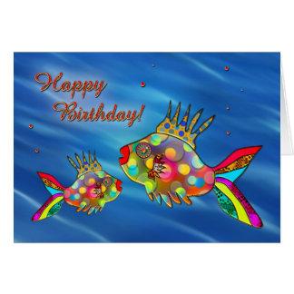 Tarjeta de cumpleaños colorida linda de los