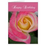 Tarjeta de cumpleaños con color de rosa rosado,