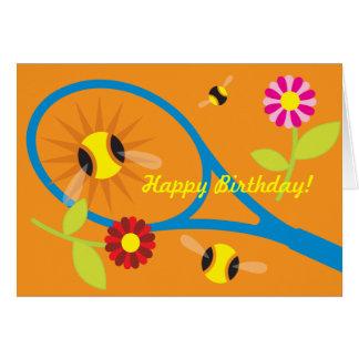 Tarjeta de cumpleaños con diseño lindo del tenis