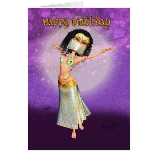 Tarjeta de cumpleaños con el bailarín lindo de la