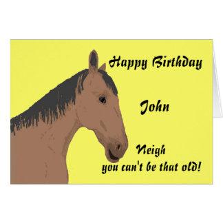 Tarjeta de cumpleaños, con el caballo. Personalice