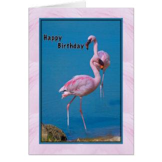 Tarjeta de cumpleaños con el flamenco rosado