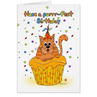 tarjeta de cumpleaños con el gato de la magdalena