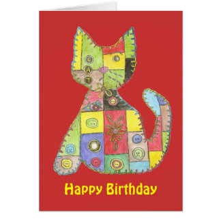 Tarjeta de cumpleaños con el gato del remiendo
